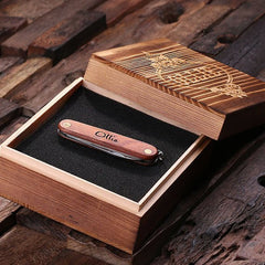 Personalised Pocket Knife with Cork Screw & Bottle Opener with Wood Gift Box