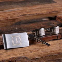 Personalised Gift Set with Rectangle Cufflinks, Money Clip and Tie Bar with Box