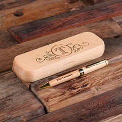 Personalised Desktop Pen and Pen Holder Set