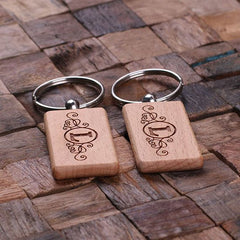 Personalised Rectangle Wood Keyring