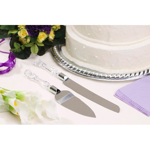 Clear Acrylic Handle Cake Knife and Server Set