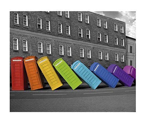 Rainbow London Phoneboxes Falling Poster