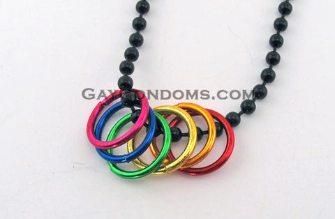 Rainbow Necklace Black Ball Chain