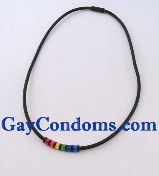 Rubber Rainbow Necklace with Glass Rainbow