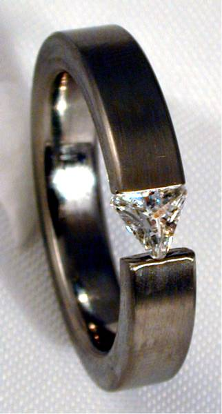 Stainless Steel Ring with Cubic Zirconia Triangle