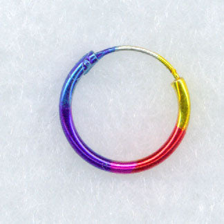 "1/2"" Sterling Silver Rainbow Hoop Earring"