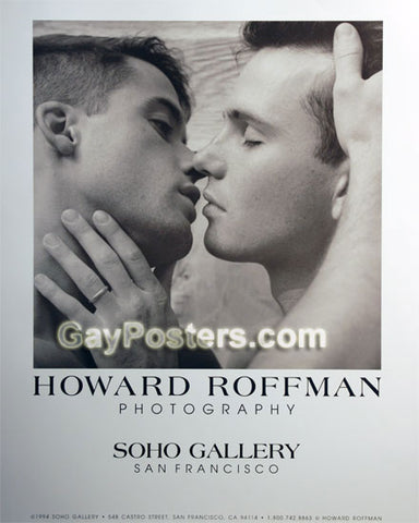 Male Couple Kissing by Roffman - Poster