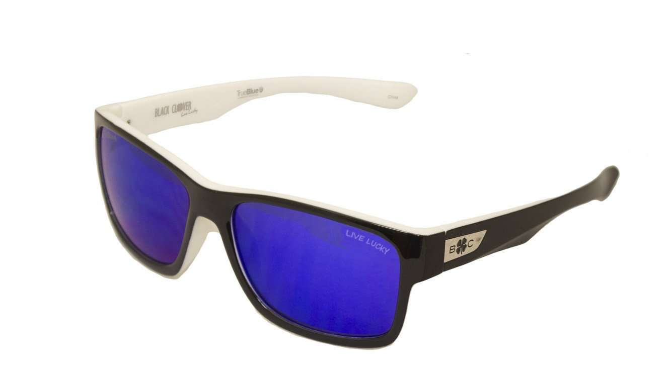 Black Clover Sun Glasses White with Blue Lens