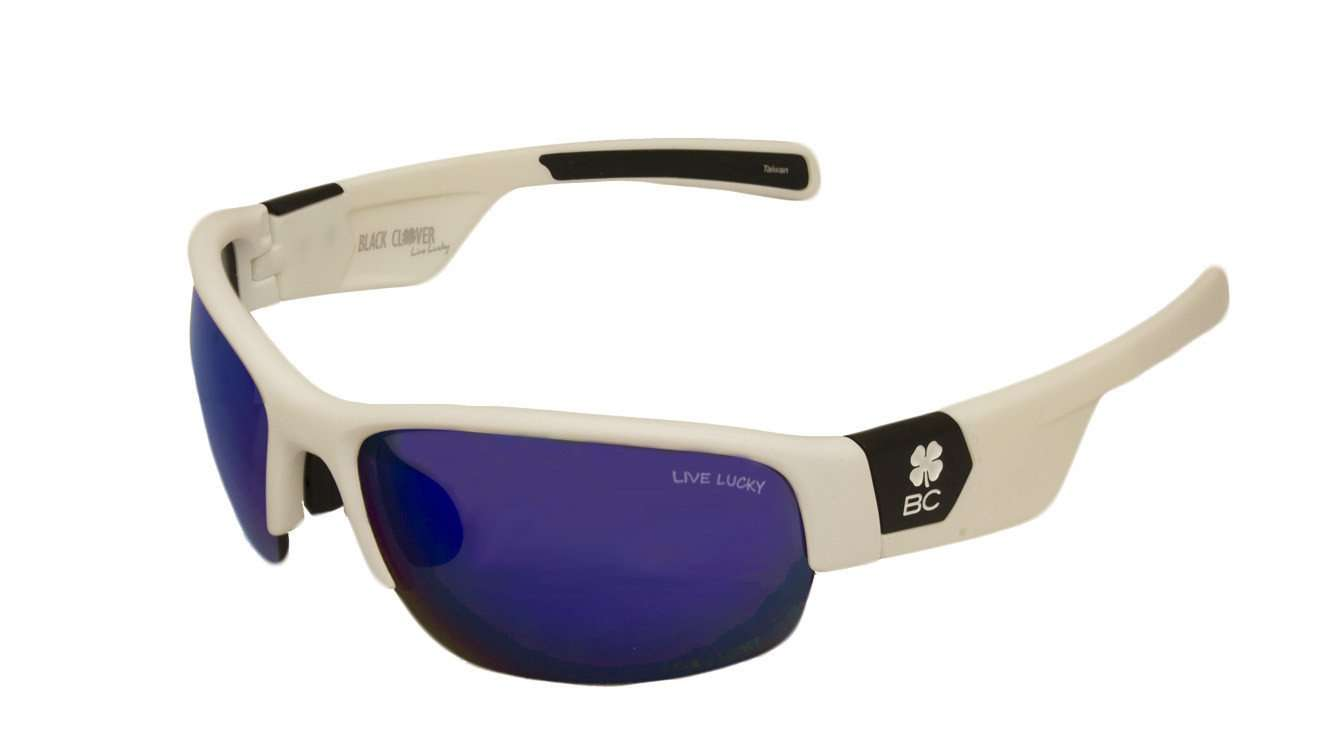 Black Clover Sun Glasses White Rap Around with Blue Lens