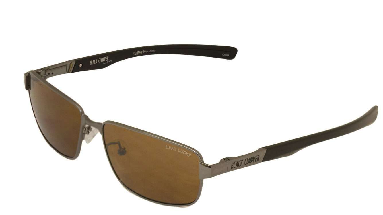 Black Clover Cruise Lucky Sun Glasses Gunmetal and Brown