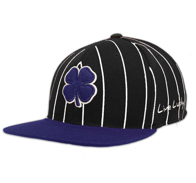 Black Clover Black and Blue Striped Flat Brim Hat