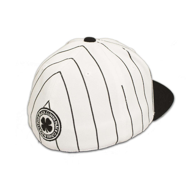 Black Clover Black and White Striped Flat Brim Hat back view