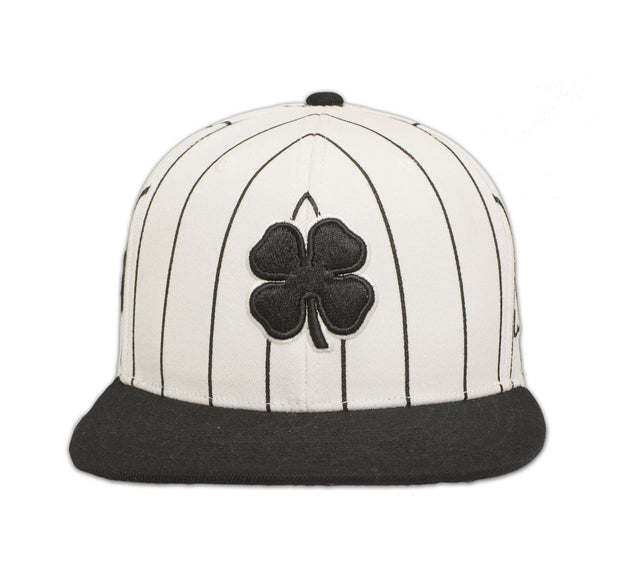 Black Clover Black and White Striped Flat Brim Hat front view
