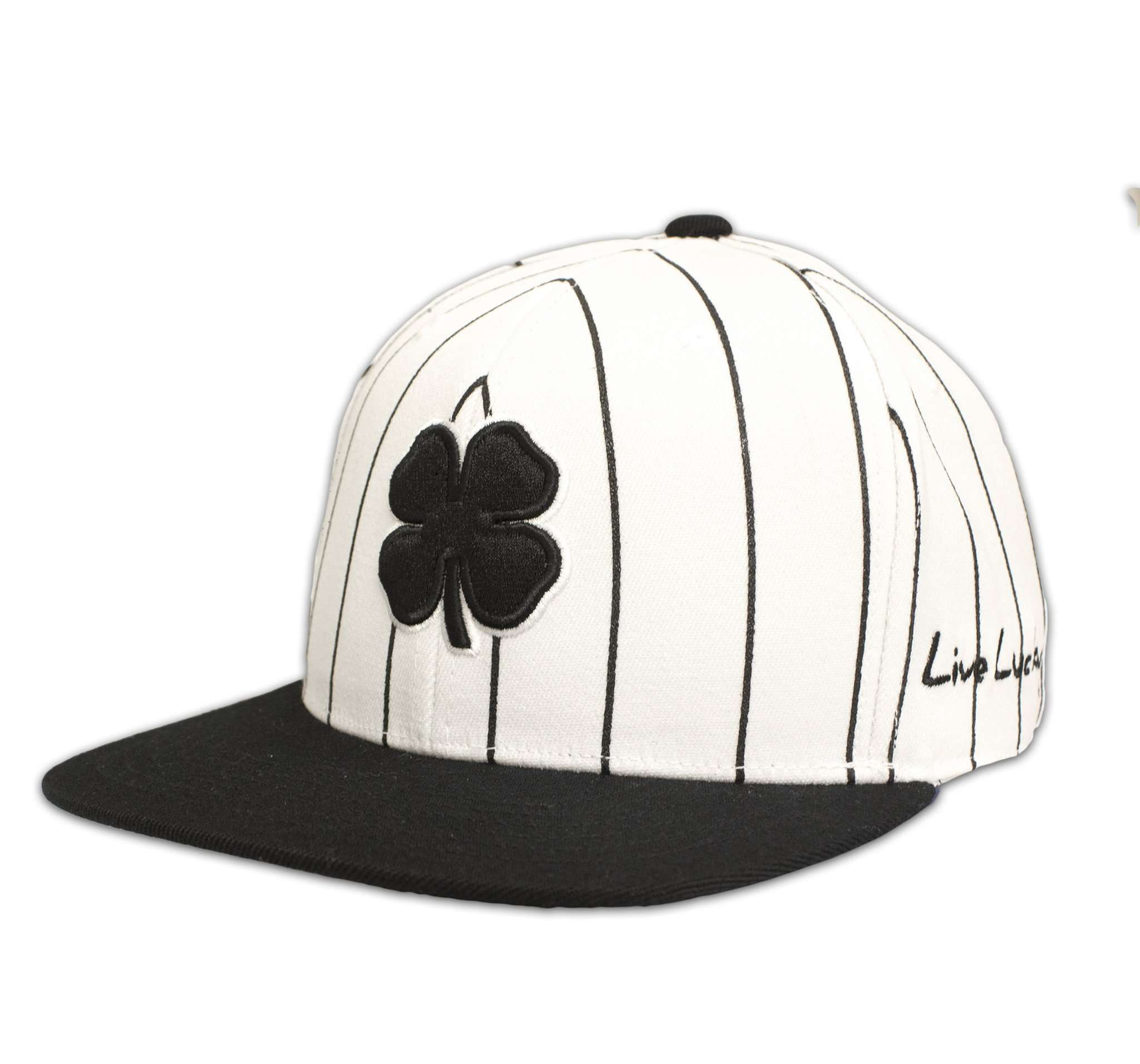 Black Clover Black and White Striped Flat Brim Hat