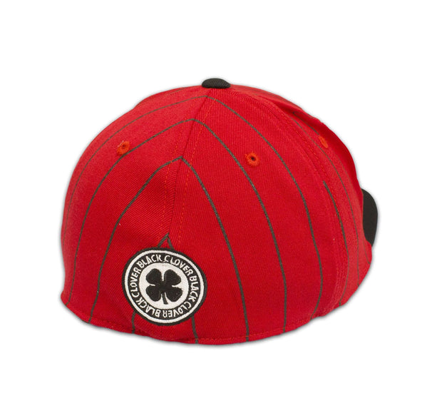 Black Clover Red and Black Striped Flat Brim Hat back view