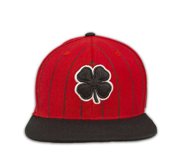 Black Clover Red and Black Striped Flat Brim Hat front view