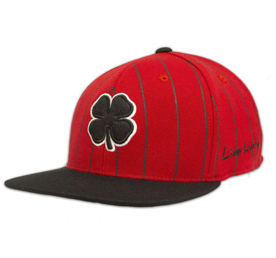 Black Clover Red and Black Striped Flat Brim Hat