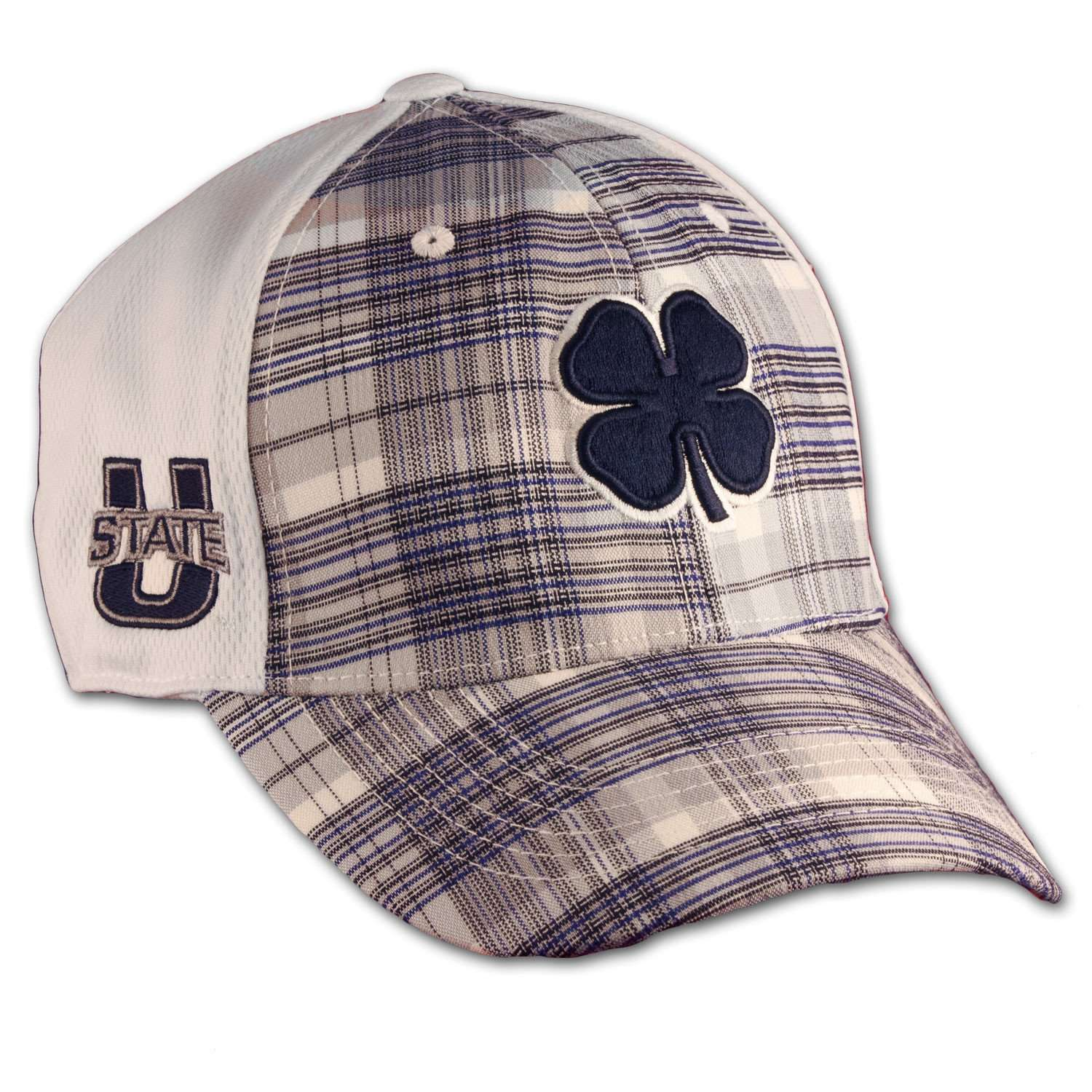 Black Clover Utah State Plaid Hat front side view