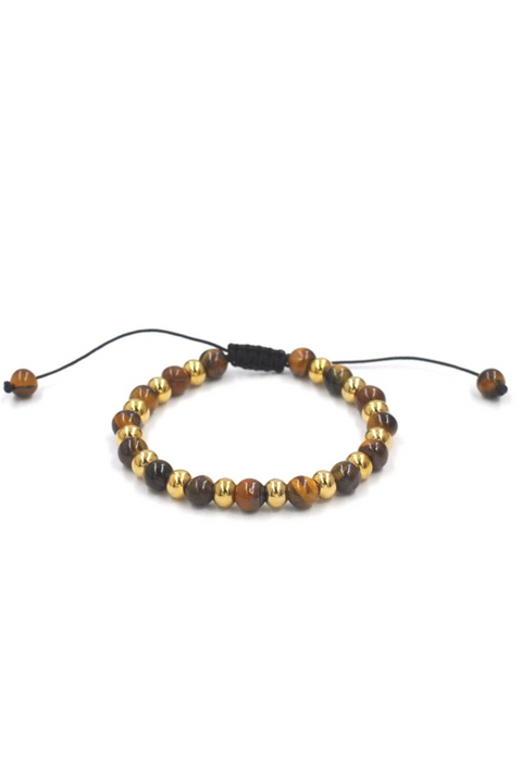 Tiger's Eye Beaded Pull& Tie Bracelet
