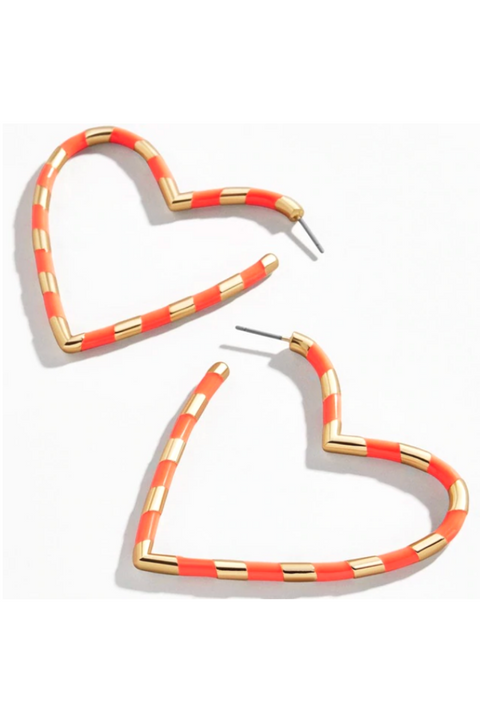 """Love You"" Striped Hoops"