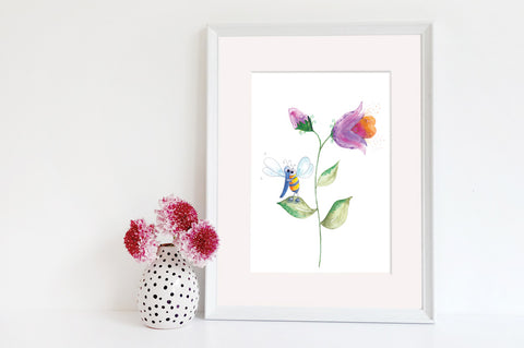 Friendship & Love - Dragonfly & Bee Art Print