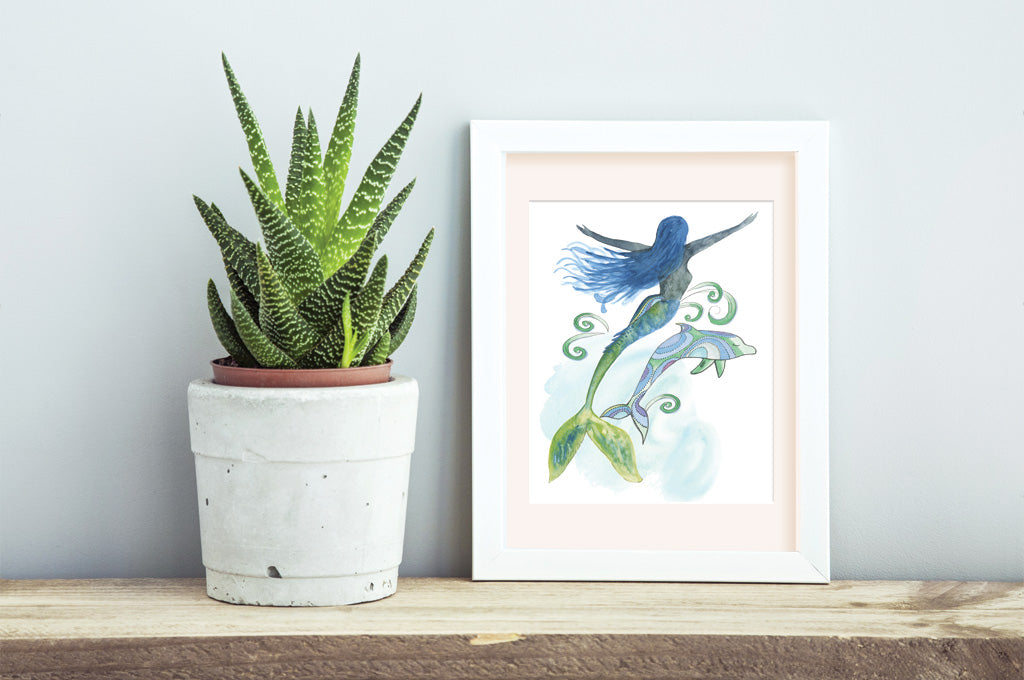 Mermaid & Dolphin | Art Print