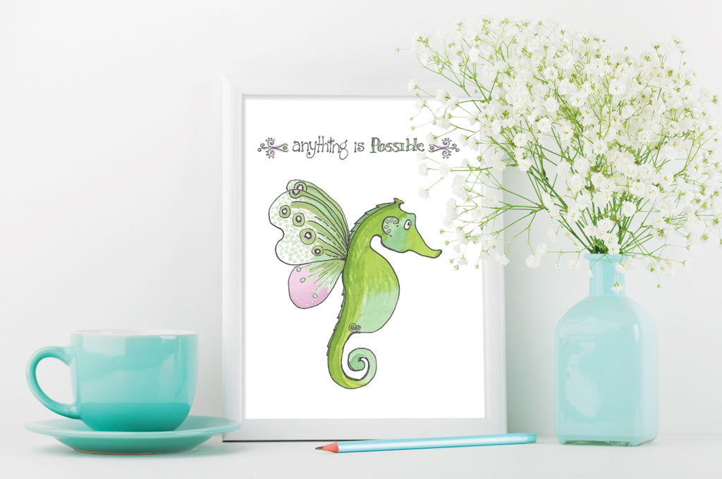 Anything is Possible! - Butterfly Seahorse Art Print
