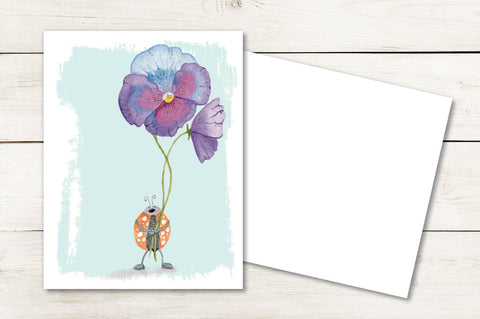 Ladybug Holding Pansy :: Enchanted Garden Collection