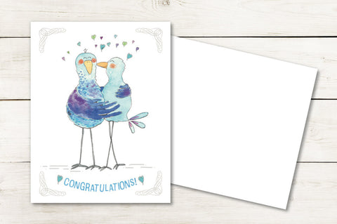 Congratulations - Bluebirds Hug