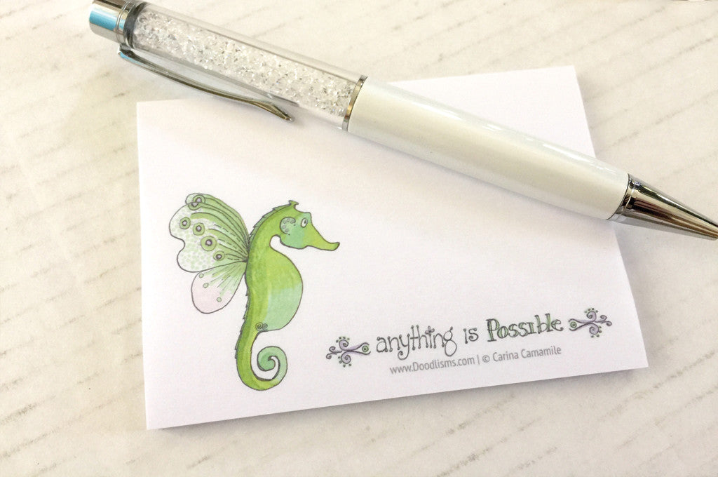 Anything Is Possible, Butterfly-Seahorse Sticky Note Pad