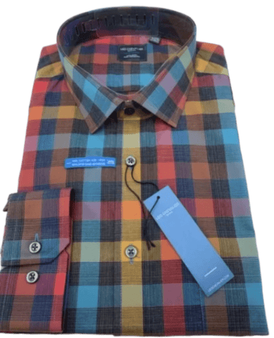 Multi Coloured Plaid Non-Iron Dress Shirt-Leo Chevalier-523471 9037