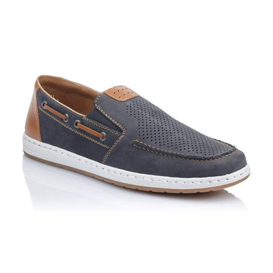 Rieker Blue Combination Slip-On Shoe - 18266