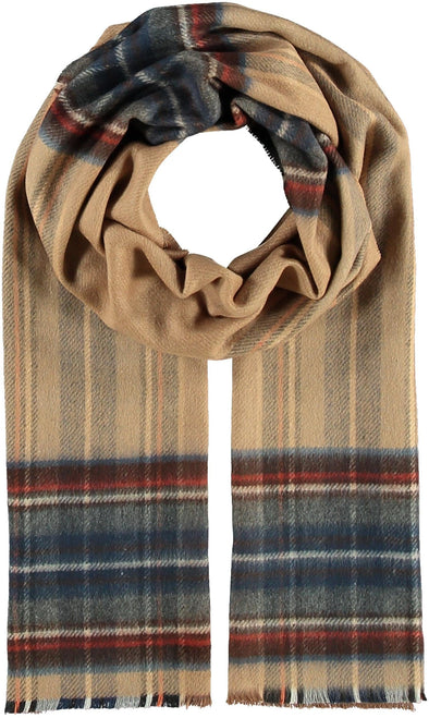 Fraas THINK Plaid Cashmink® scarf - Camel - 627031 180