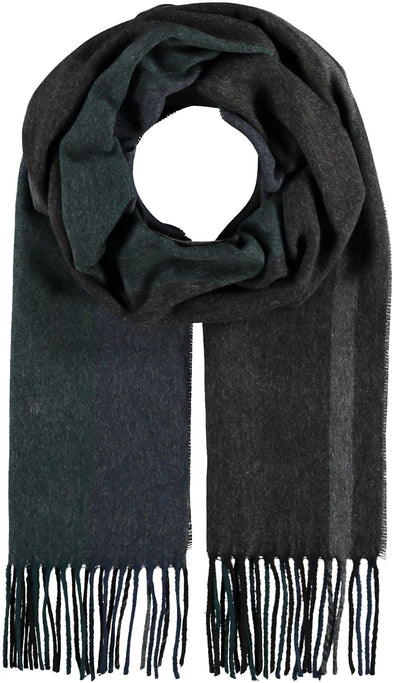 Fraas Striped Cashmink® scarf - Black/Teal - 627026 992