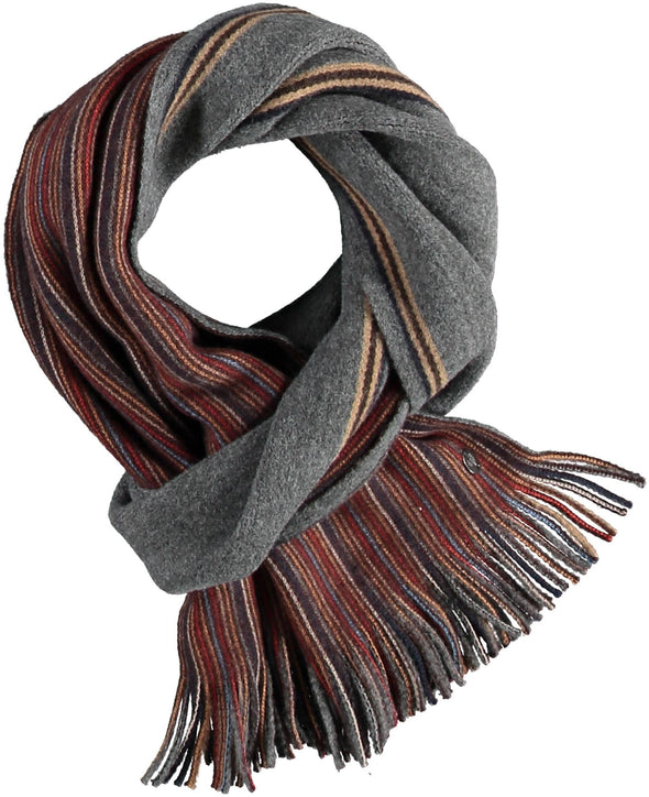 Fraas Striped Wool Scarf - Chocolate - 628173 870