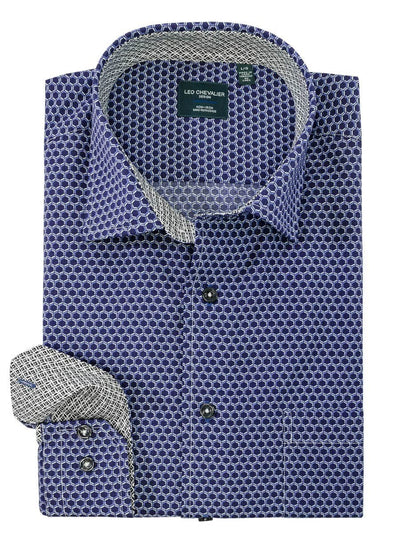 Leo Chevalier L/S Non-Iron Spread Collar Sport Shirt - Navy - 525457 1998