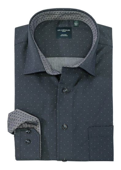 *Tall Sizes* Leo Chevalier L/S Non-Iron Spread Collar - Dark Grey - 525453qt 3937