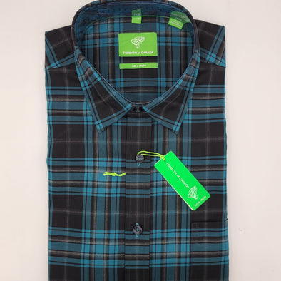 John Forsyth Twill Check Sports Shirt L/S - Turquoise - 8646L
