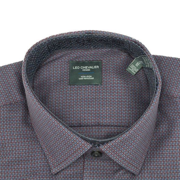 *Tall Sizes* Leo Chevalier L/S Non-Iron Spread Collar Sport Shirt - 525469QT 4837