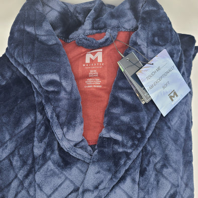 Majestic Big and Tall Crossroads Plush Fleece Robe - Navy - 12223610