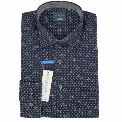 Leo Chevalier L/S Non-Iron Spread Collar Sport Shirt - Navy - 525478 1998
