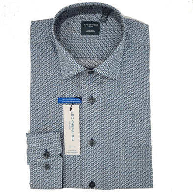 Leo Chevalier L/S Non-Iron Spread Collar Sport Shirt - Green Check - 525455 5498