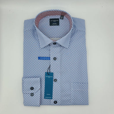 Leo Chevalier L/S Non-Iron Spread Collar Sport Shirt - Light Blue Print - 525452 1398