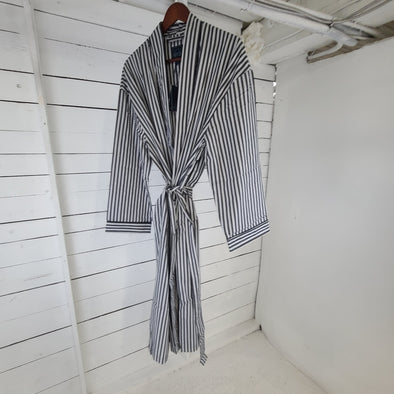 Majestic Unlined Robe - Black Stripes - 12242120 007