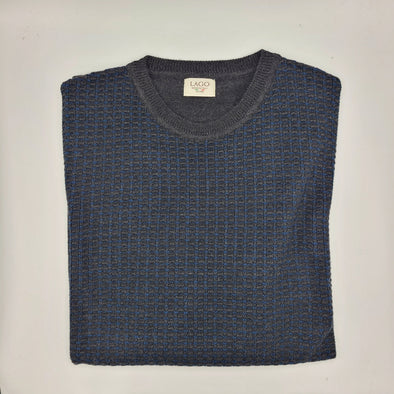 Lago 50% Wool & 50% Acrylic Crew Neck Sweater - Indigo - LSW206513