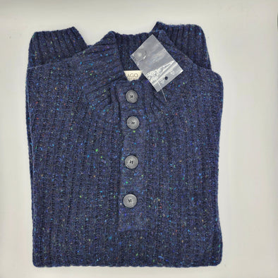 Lago 50% Wool 50% Acrylic Button Mock Sweater - Navy - LSW207505-18
