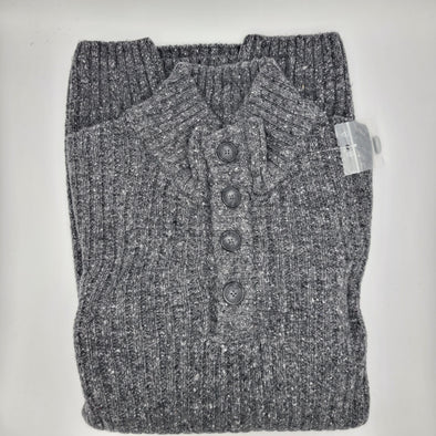 Lago 50% Wool 50% Acrylic Button Mock Sweater - Charcoal - LSW207505-34