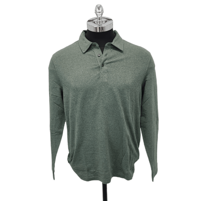 Borgo28 L/S Heather Jersey Polo - Moss - BHY0K902 318