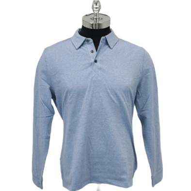 Borgo28 L/S Heather Jersey Polo - Light Blue - BHY0K902 427