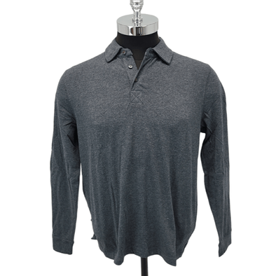 Borgo28 L/S Heather Jersey Polo - Charcoal - BHY0K902 010